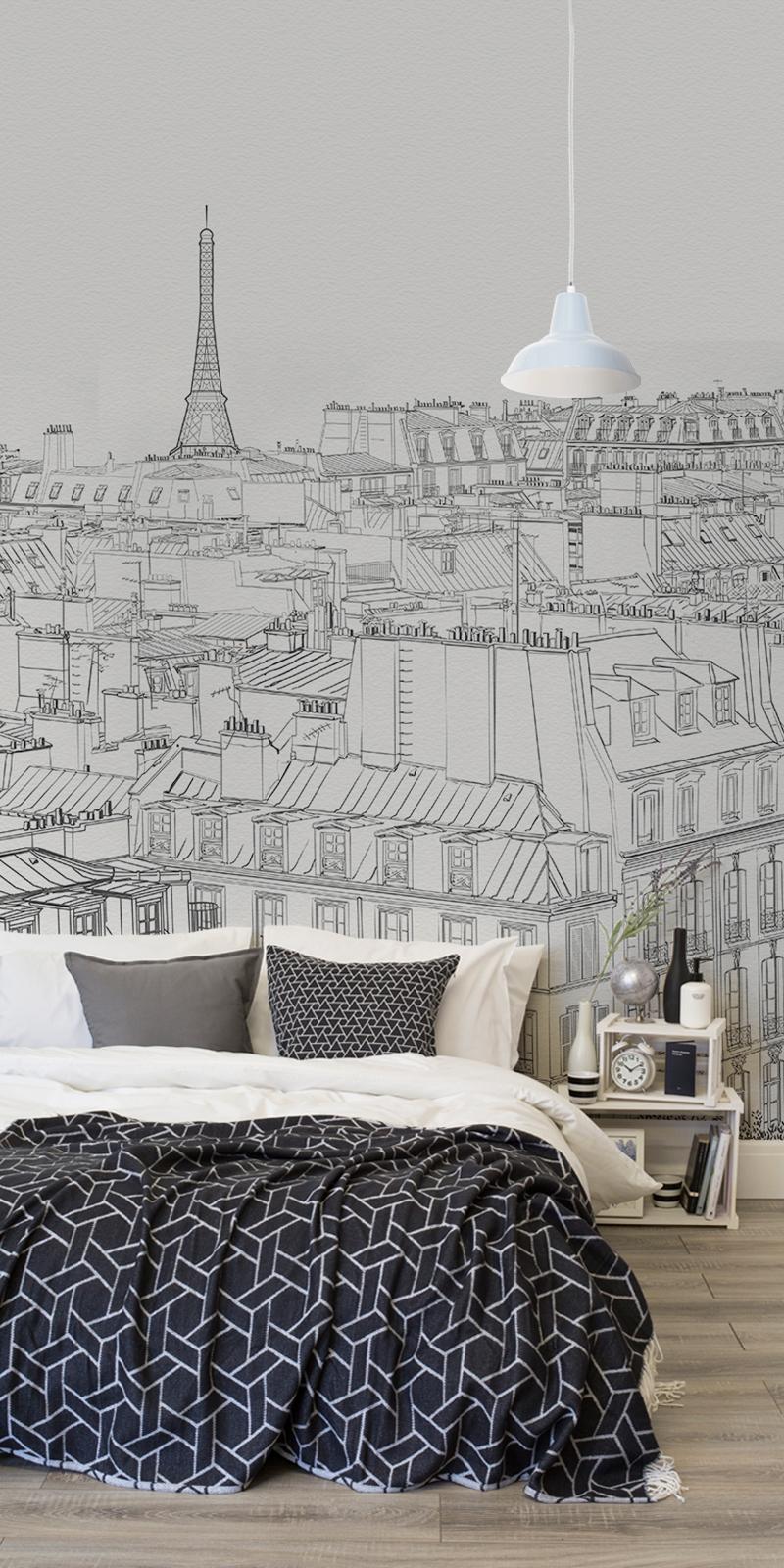 NRS City Wallpaper Paris Illustrated Bedroom