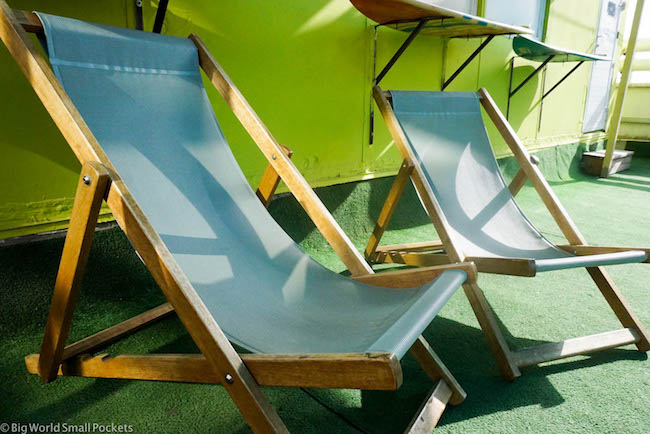 Israel, Tel Aviv, Abraham Hostel Deckchairs
