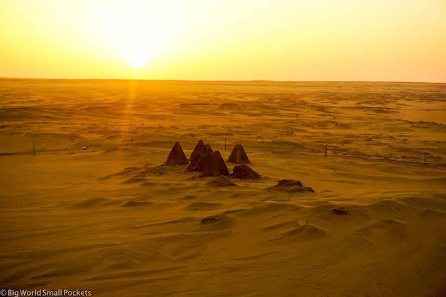 Sudan, Karima, Pyramids at Sunset