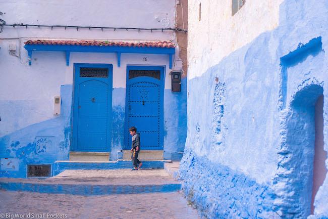 Morocco, Chefchaouen, Boy in Street