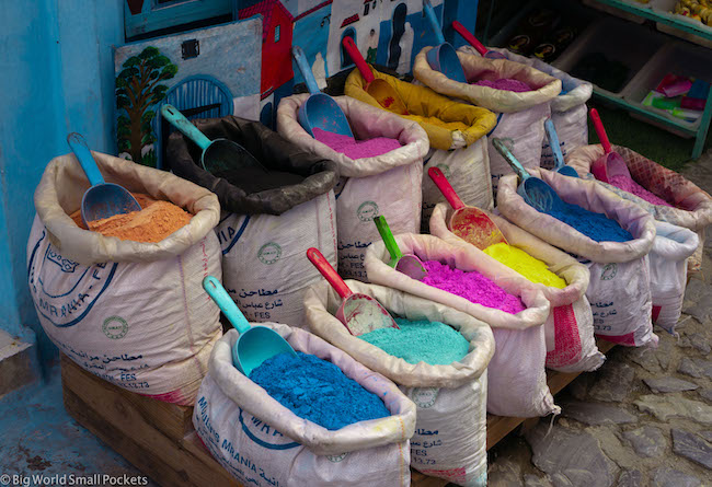 Morocco, Chefchaouen, Paints