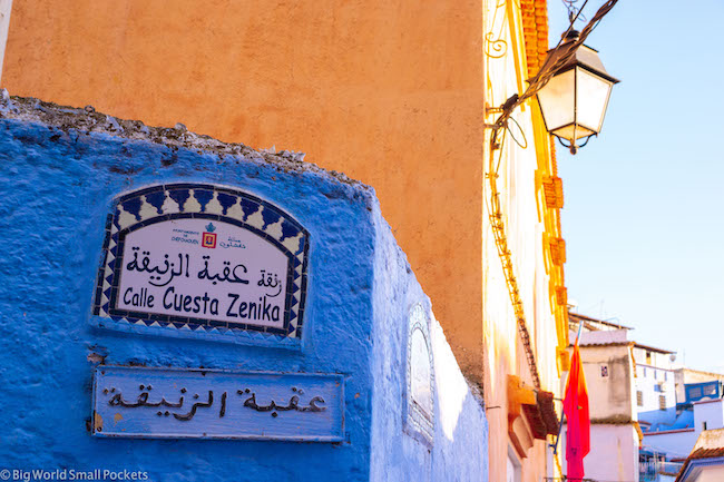 Morocco, Chefchaouen, Sign