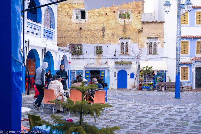 Morocco, Chefchaouen, Square
