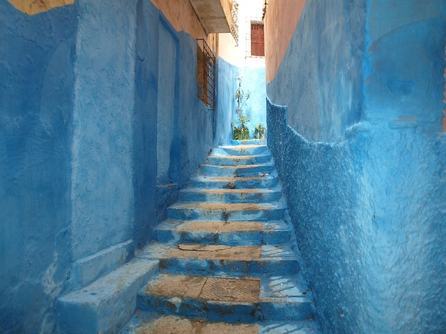 Morocco, Chefchouen, Blue Stairs