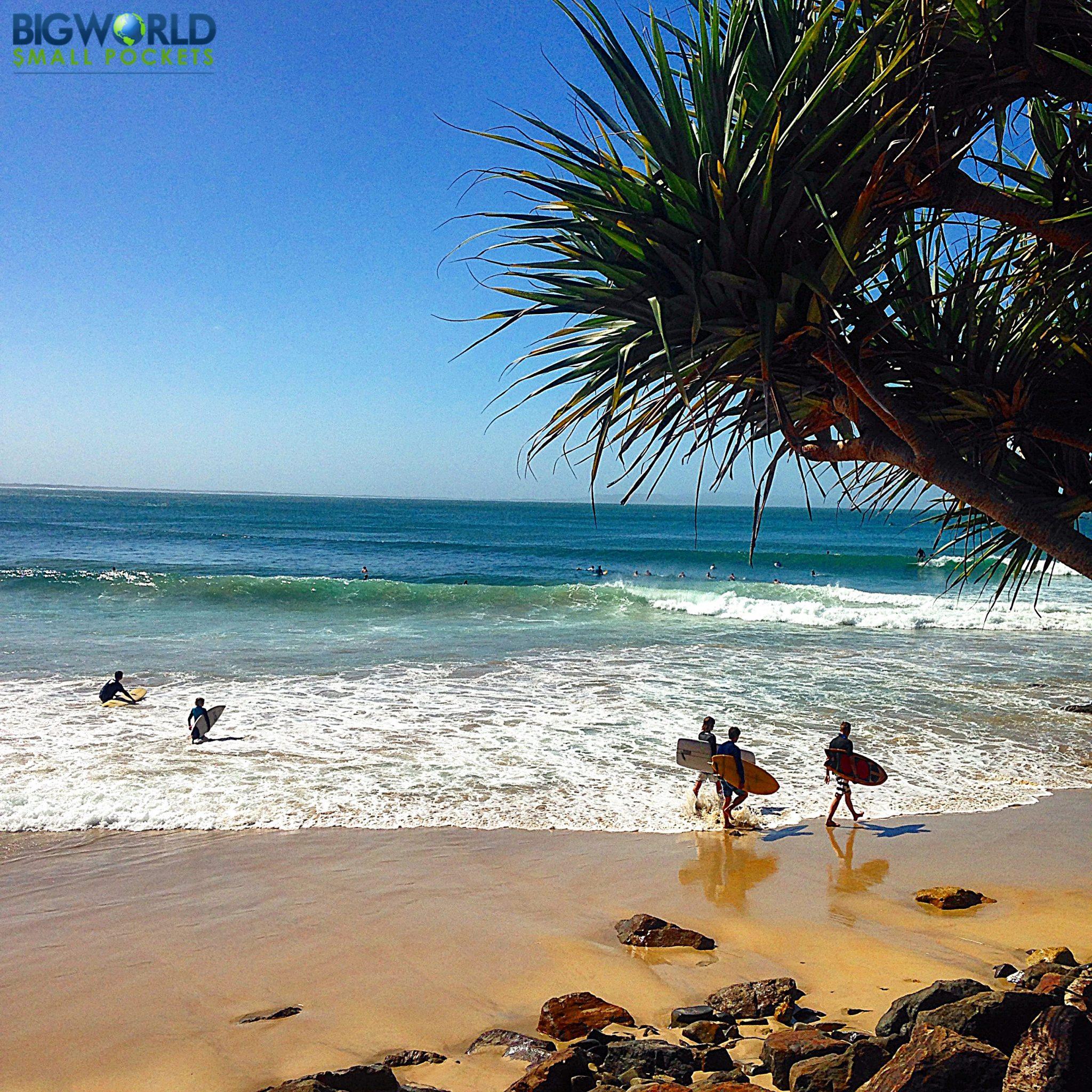 Australia, Noosa, Surfers on Beach