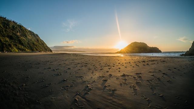 New Zealand, Coast, Sunset
