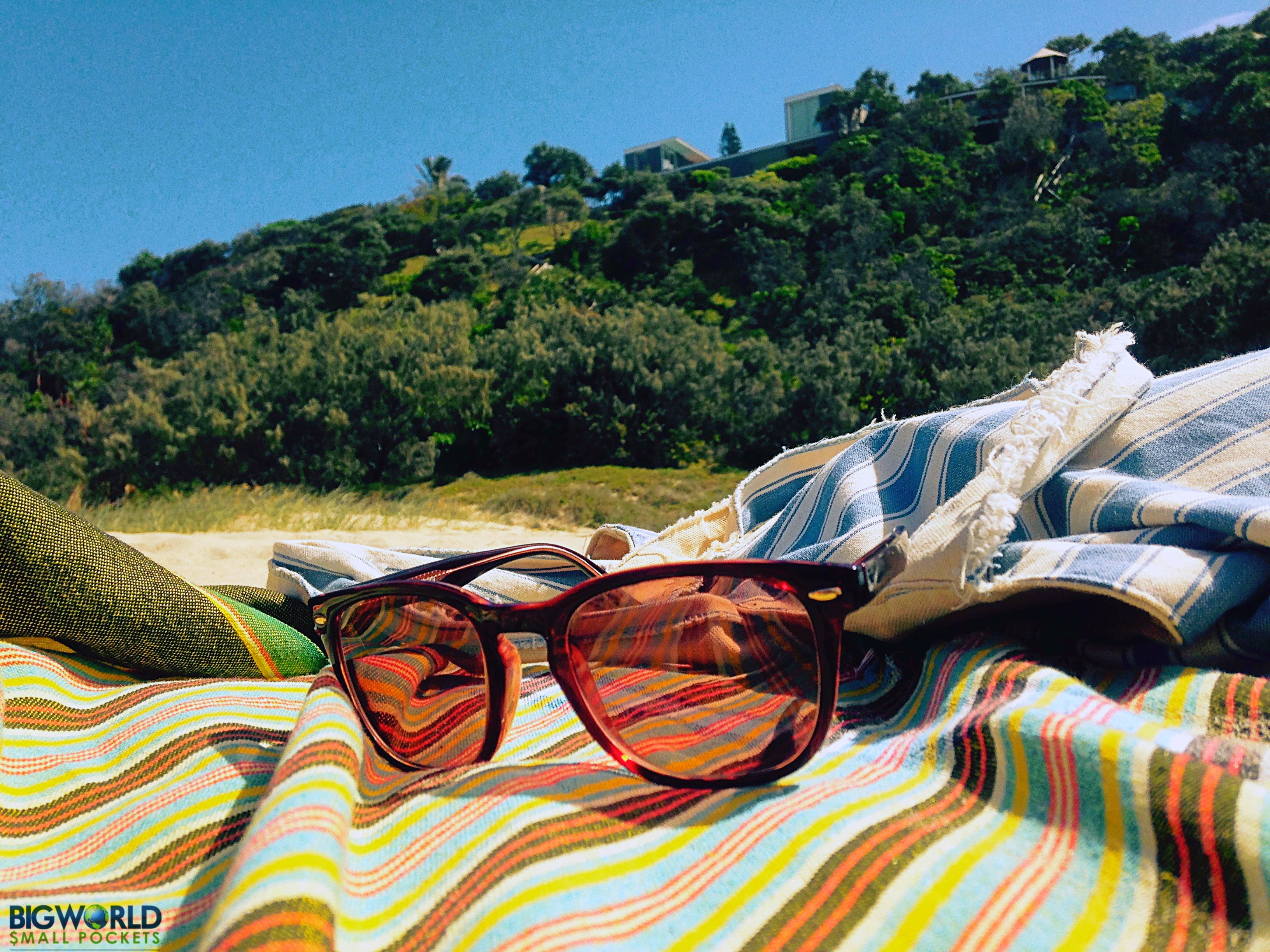 Sunglasses on Stripy Sarong