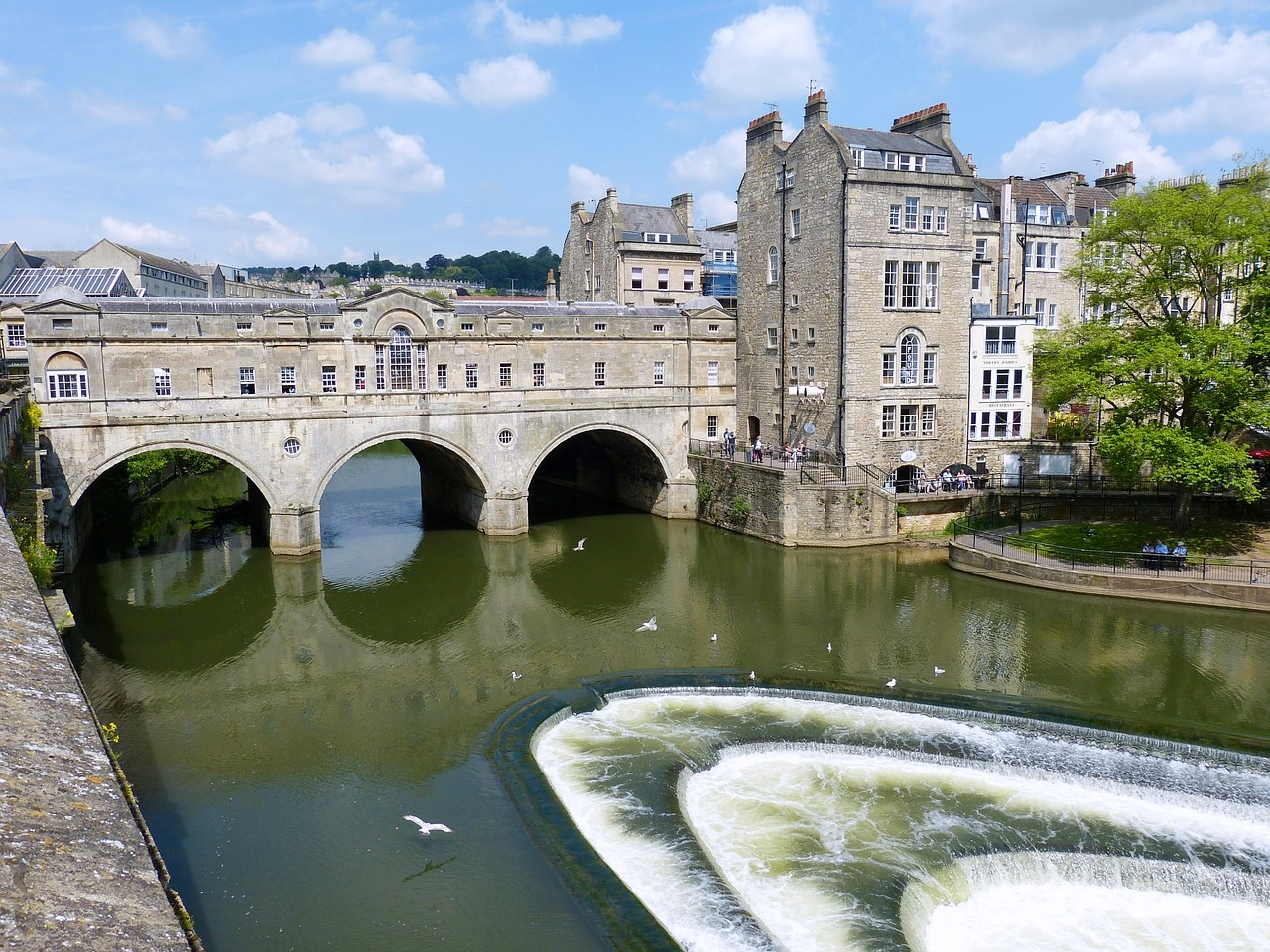 England, Bath, Weir