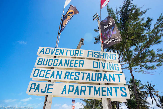 Zanzibar, Bucaneer Diving, Beach Sign