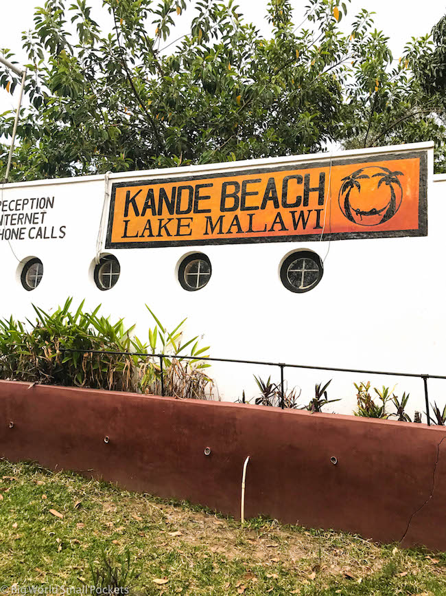 Malawi, Lake Malawi, Kande Beach Sign