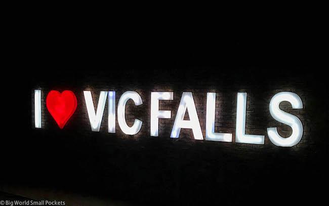Zimbabwe, Victoria Falls, Sign