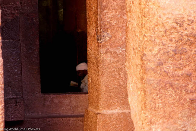 Ethiopia, Lalibela, Priest in Doorway