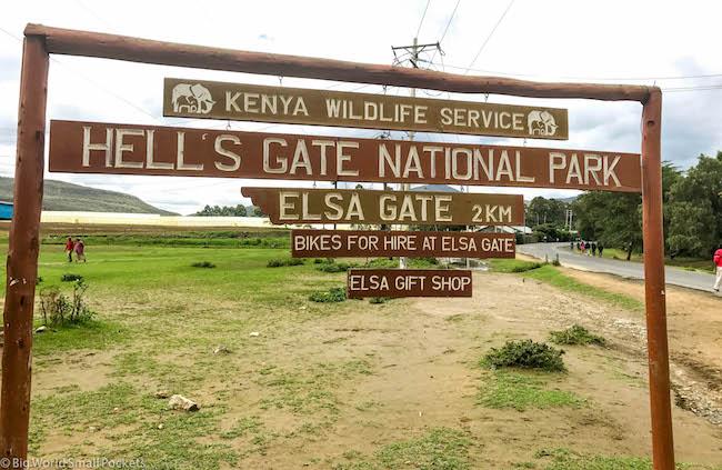 Kenya, Hells Gate NP, Sign