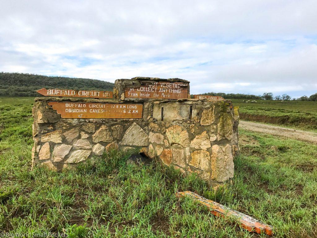 Kenya, Hells Gate NP, Signpost