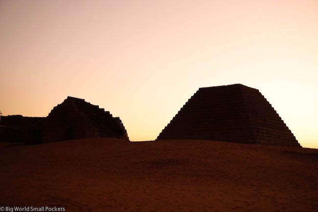 Sudan, Meroe, Pyramid Shadows