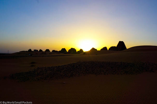 Sudan, Meroe, Sunset at Pyramids