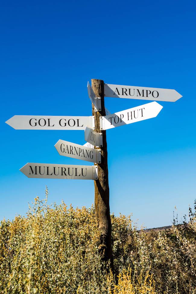 Australia, Mungo National Park, Signpost