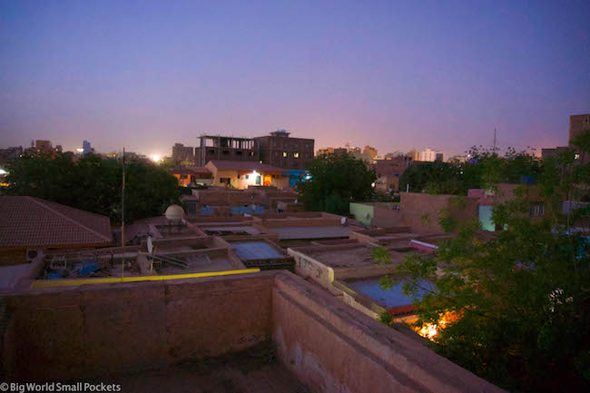 Sudan, Khartoum, Night Rooftop View