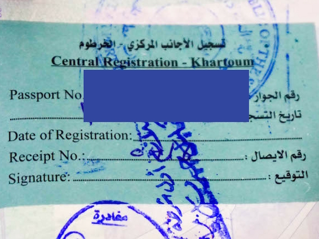 Sudan, Visa, Registration Sticker