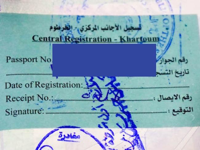 Sudan, Visa, Registration Sticker