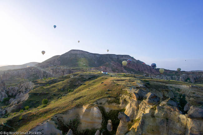 Turkey, Cappadocia, Balloons Over House