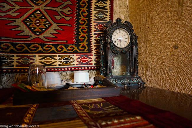 Turkey, Cappadocia, Cave Hotel Saksagan Clock