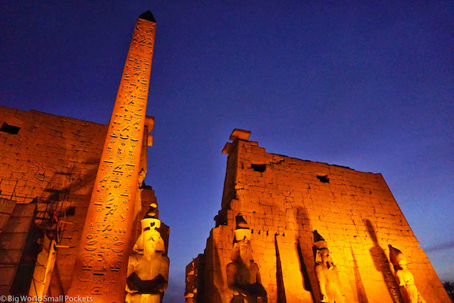Egypt, Luxor, Luxor Temple at Night