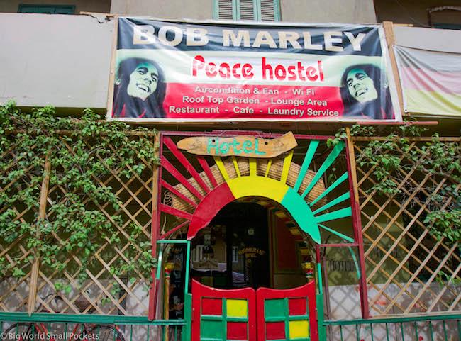 Luxor, Bob Marley Hostel, Entrance