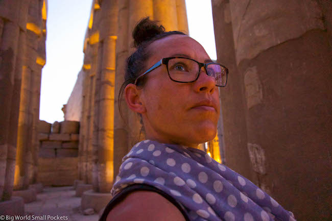 Egypt, Luxor, Luxor Temple at Night and Me