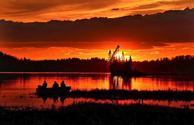 Canada, Lake, Sunset