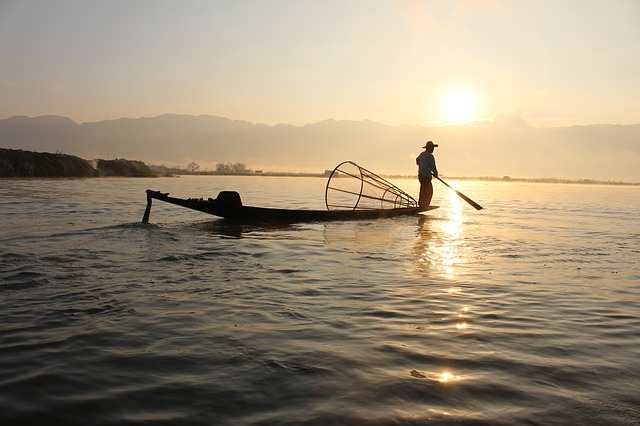 Myanmar, Lake, Fisherman
