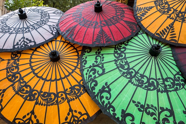 Myanmar, Umbrellas, Colourful