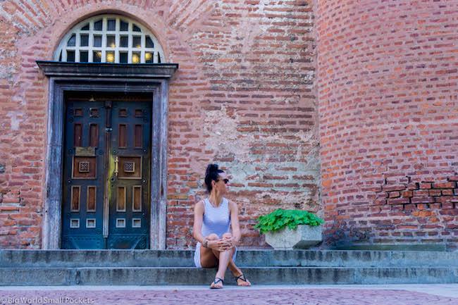 Bulgaria, Sofia, Me and Sveta Sofia Church Doorway
