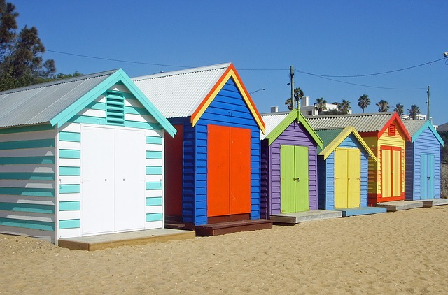 Melbourne, Beach, Huts