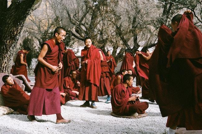 Tibet, Lhasa, Monks in Robes