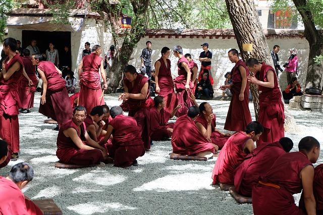 Tibet, Lhasa, Monks