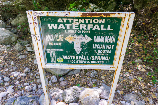 Turkey, Kabak, Waterfall Sign