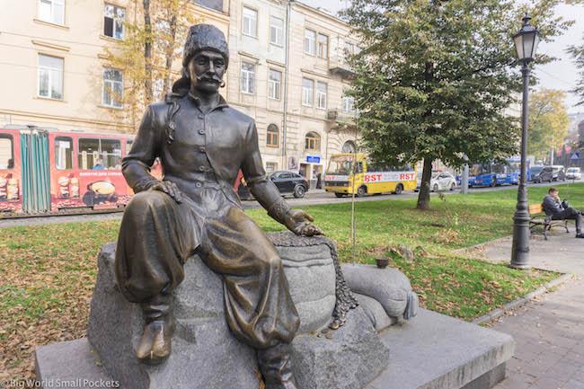 Ukraine, Lviv, Yuriy Kulchitsky Statue