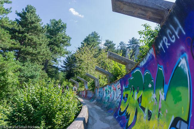Bosnia, Sarajevo, Old Bobsleigh Pipe Track