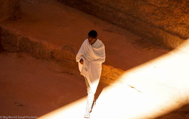 Ethiopia, Lalibela, Man Walking