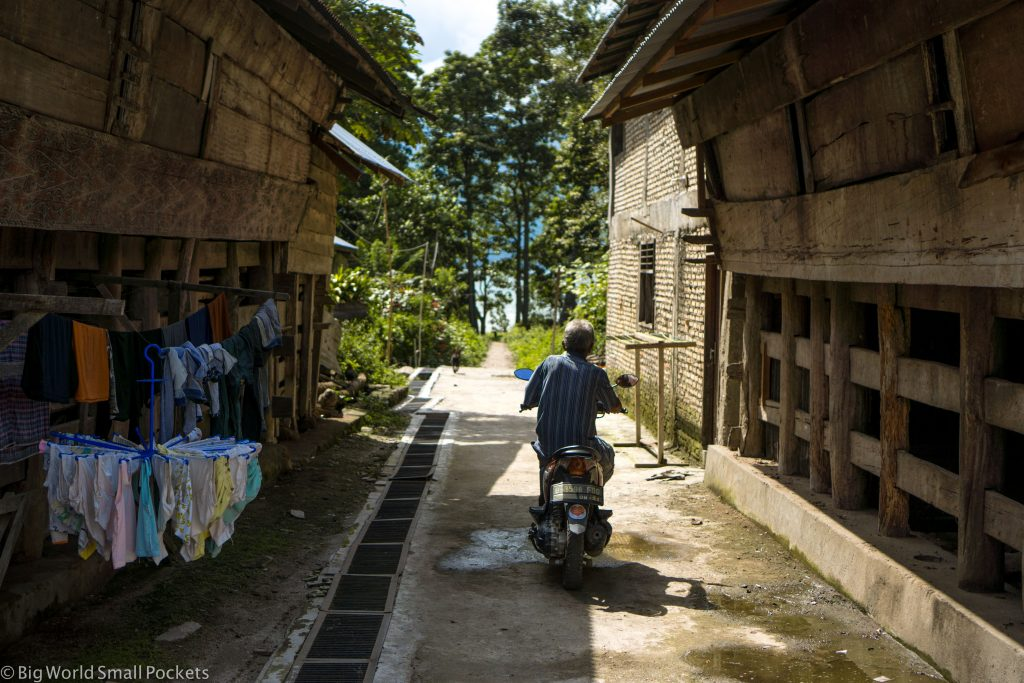 Indonesia, Lake Toba, Village Motorcycle