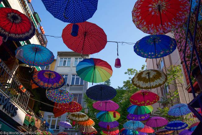 Turkey, Kadikoy, Umbrellas