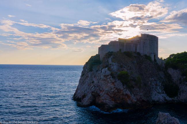 Croatia, Dubrovnik, Sunset Behind Clouds
