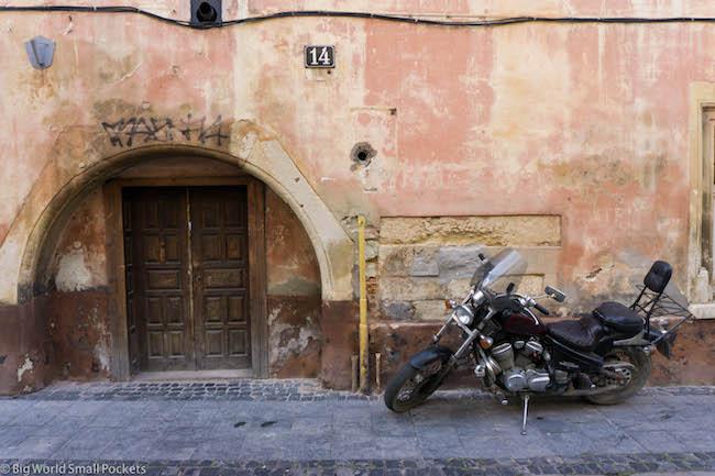 Ukraine, Lviv, Bike and Doorway