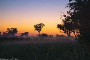 Botswana, Okavango Delta, Misty Sunset