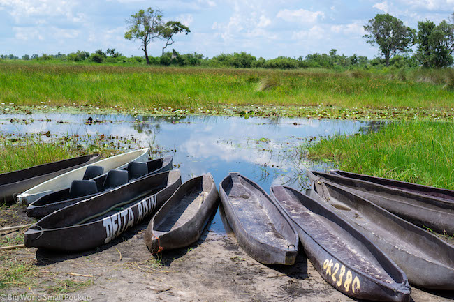 Botswana, Okavango Delta, Mokoro at Camp