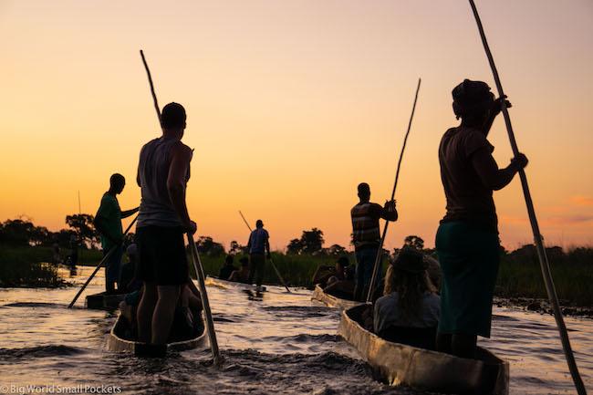 Botswana, Okavango Delta, Sunset Mokoro Ride