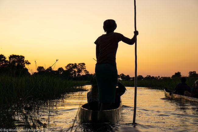 Botswana, Okavango Delta, Sunset Poler
