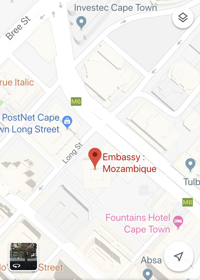 Mozambique, Cape Town Consulate, Map Close Up