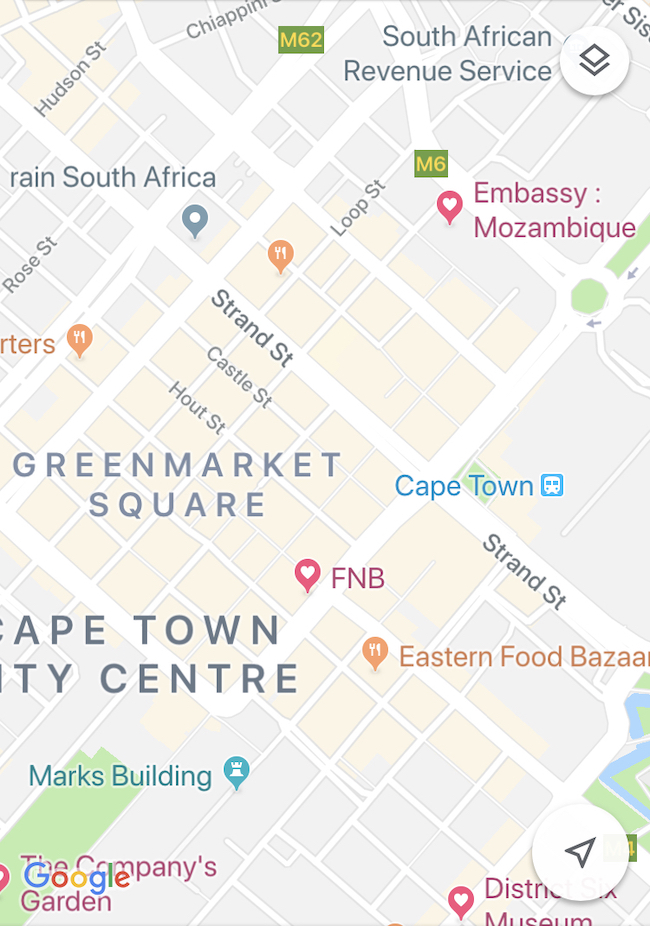 Mozambique, Cape Town Consulate, Map Zoomed Out